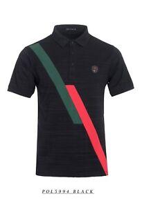 New-Mens-Short-Sleeve-Polo-Shirt-Slim-Fit-Stretch-Black-Red-Green-Stripes
