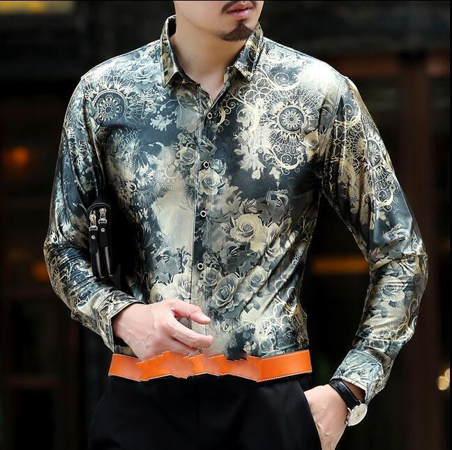 Men's Sleeve Lapel Collar Slim Dress Floral Printed Suit Blouse Shirts Tops  hk1