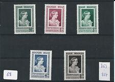 nr68 Belgian Postage Postal Stamps 1951 MNH 863/867