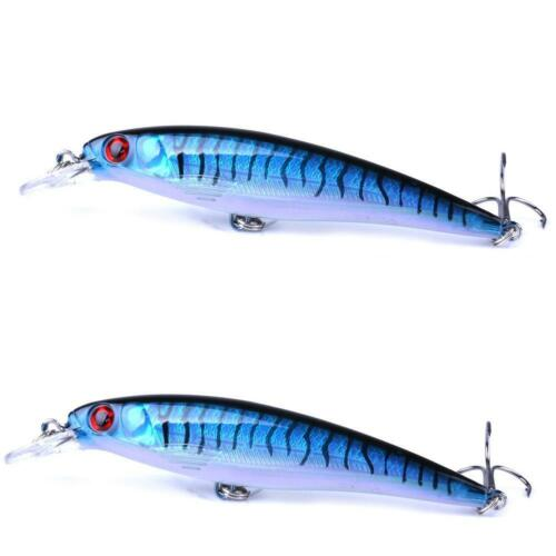 1*10 Colors Fishing Minnow Fishing Lures Baits Tackle Bass NEW