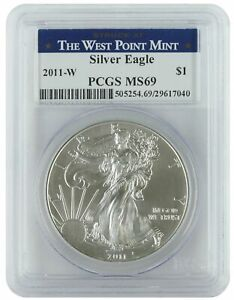 West Point Mint 2013-W 1oz Burnished American Silver Eagle MS69 PCGS