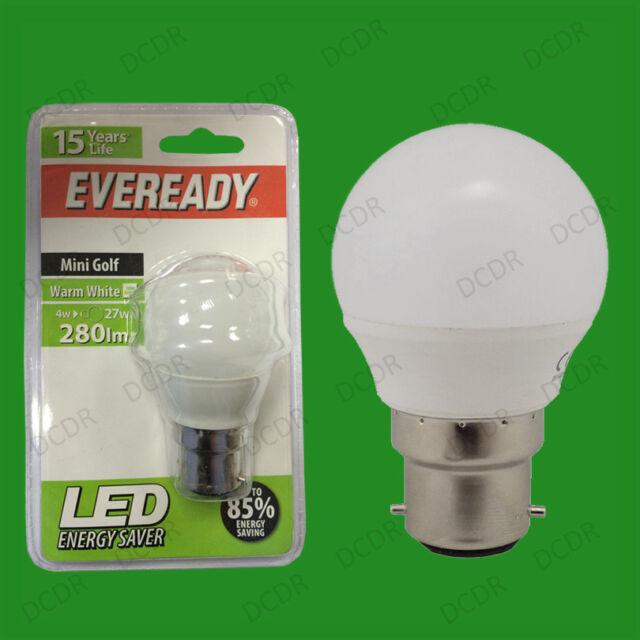 4W LED Eveready Ultra Low Energy Instant Start Mini Golf Light Bulb BC, B22 Lamp