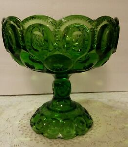 L-E-Smith-Green-Moon-amp-Stars-XL-Pedestal-Compote-Bowl-Centerpiece-NICE