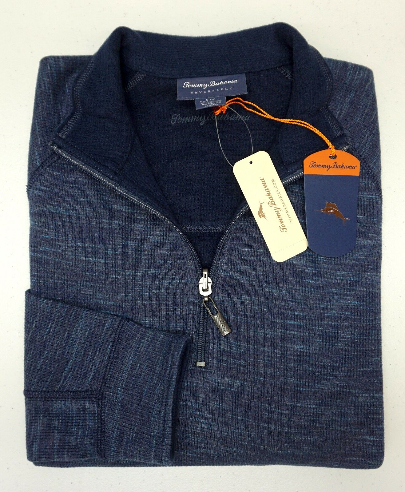 NWT 98 Tommy Bahama Blau Reversible 1/4 Zip Sweater  Herren Größe S Heather NEW