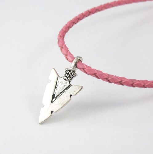 3mm Pink Leather Surfer Necklace Silver Alloy Native American Arrowhead Pendant