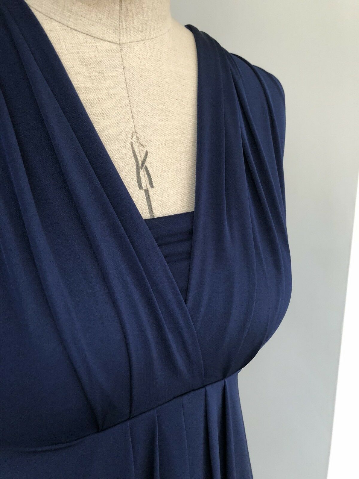 SIZE 12 MARKS & SPENCERS MULTIWAY MULTIPLE STYLES DRESS SILK JERSEY NAVY STRETCH