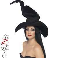 Black Crooked Witches Hat Deluxe Halloween Fancy Dress Harry Potter Style