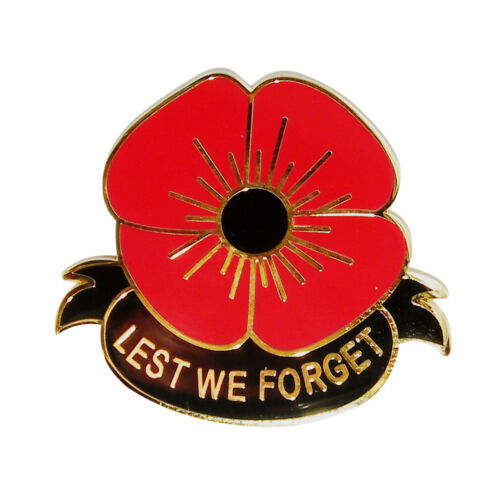 """UK Seller POPPY BADGE WITH GOLD LETTERING /""""LEST WE FORGET/"""" Remembrance Day UK"""