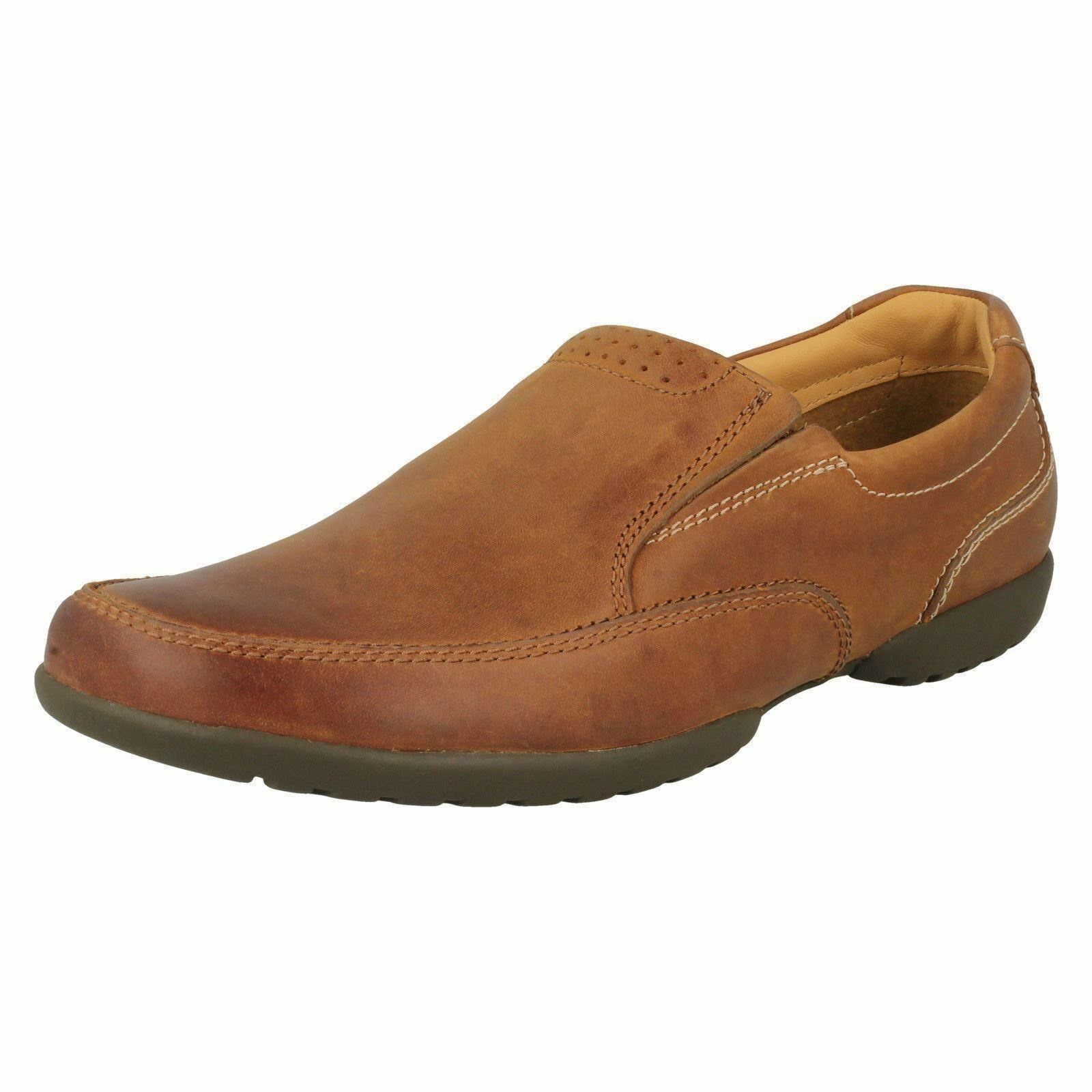 Mens Clarks Recline Free Tan Leather Casual Slip On Shoes H Fitting