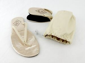 c28e01814 Image is loading Ladies-039-Folding-Flip-Flops-w-Pouch-BEIGE-
