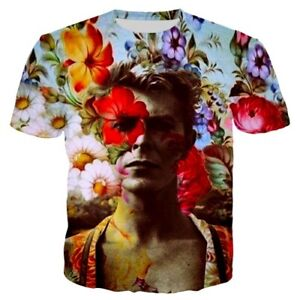 Women-Men-TShirt-3D-Print-Flowers-David-Bowie-Casual-Short-Sleeve-Tee-Top-Unisex