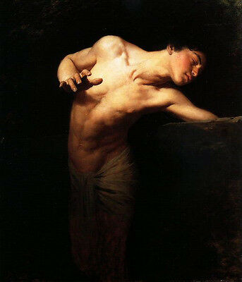 Huge oil painting Gyula BENCZÚR - Nude young man portrait Narcissus in landscape
