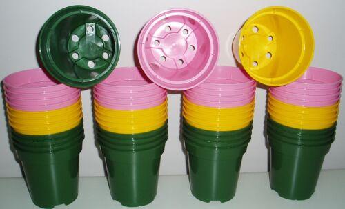 "17 x verde + 17 x Giallo + 17 X ROSA 3.1//2/"" Heavy Duty vasi delle piante 51 PK 9cm"