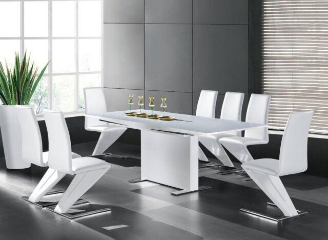 GAVINA Esszimmertisch 150-210x90 Designertisch Esstisch Modern Hochglanz Weiß