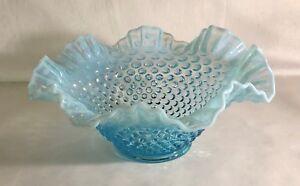 Fenton-Blue-Opalescent-Hobnail-9-034-Double-Crimped-Bowl
