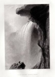 NIAGARA-FALLS-TABLE-ROCK-Antique-Engraving-1837-FREEPOST