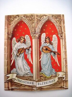 Beautiful Religious Christmas Cards.Vintage Religious Christmas Card W Angels And Nativity Scene By Vincentini Ebay