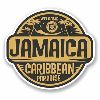 2 x Jamaica Jamaican Flag Vinyl Sticker Laptop Travel Luggage Car #6186