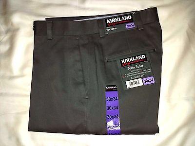 Kirkland Pant 30 x 34 Gray Graphite Flat Front Cotton No Iron Classic Fit