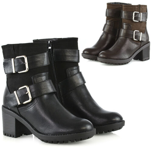 Mid Heel Boots Booties Cleated Low Ankle Womens Buckle Ladies Size Sole Strap pFqw6n5