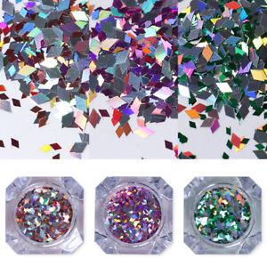Holographics-silver-Nail-Art-Lentejuelas-Multi-Tamano-iridiscente-con-Paillettes-en-Born-Pretty
