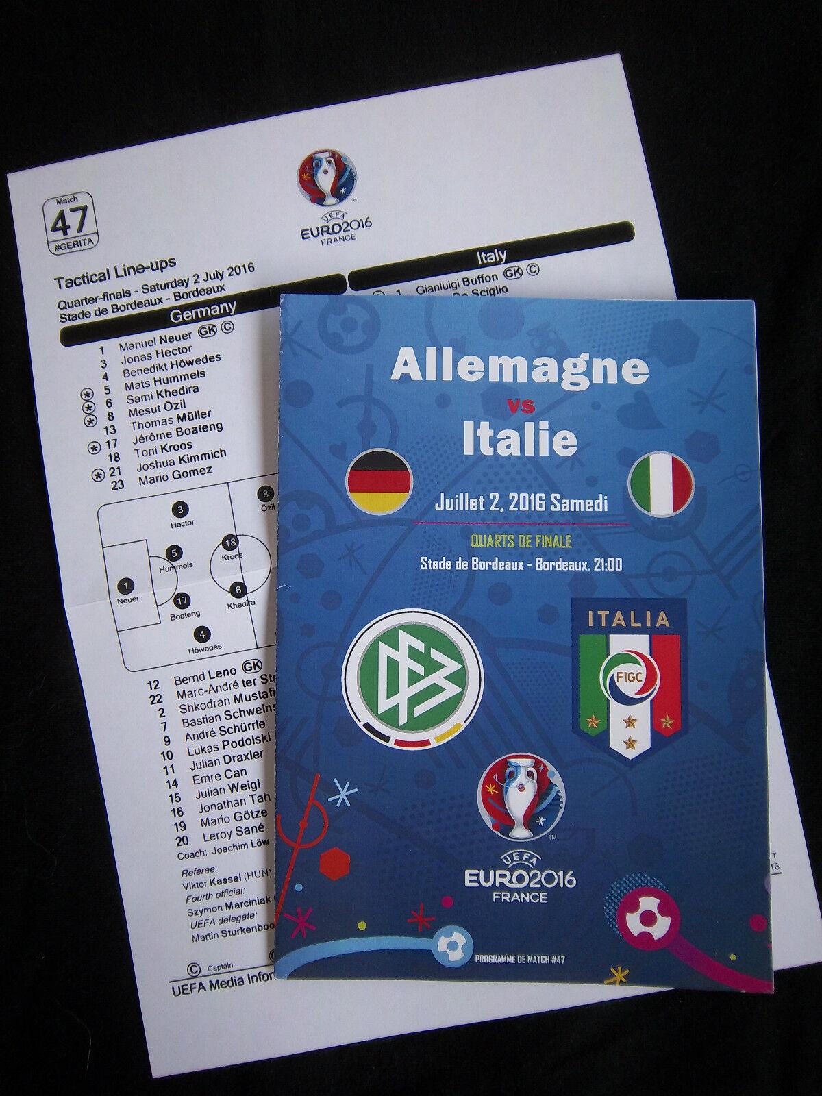 Orig.PRG  EM Frankreich 2016  ITALIEN - DEUTSCHLAND  1 4 F.+ Off.Teamaufstellung  | Kaufen Sie beruhigt und glücklich spielen