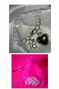16th Birthday Bracelet Silver Plated Charm Bracelet 16th Charm Bracelet