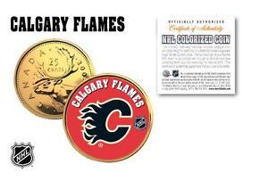 CALGARY-FLAMES-Legal-Tender-GOLD-Canada-Quarter-Coin-NHL