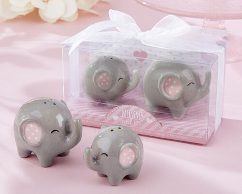 65 Little Peanut Ceramic Elephant Salt /& Pepper Shakers Favor Baby SHower Favors