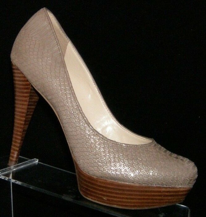Guess Adrienas taupe leather round toe snake print slip on platform heels 8.5M