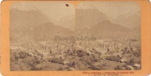 Unterseen & Alpi Suisse Foto J.Andrieu Stereo Vintage Albumina Ca 1868
