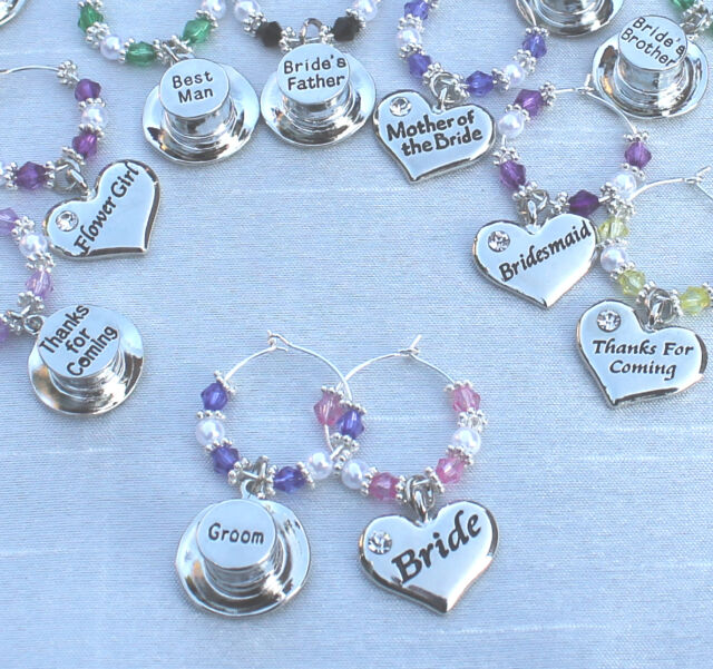 Wedding Table Decorations - Champagne \ Wine Glass Charms Favours - DIY