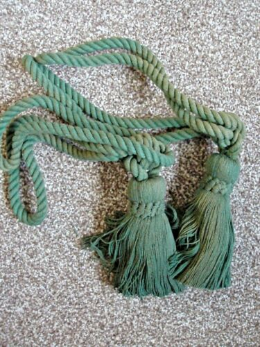 TWO 2 Quality Traditional Tassel Rope Curtain Tie Backs Ties  MOSS GREEN NEW!
