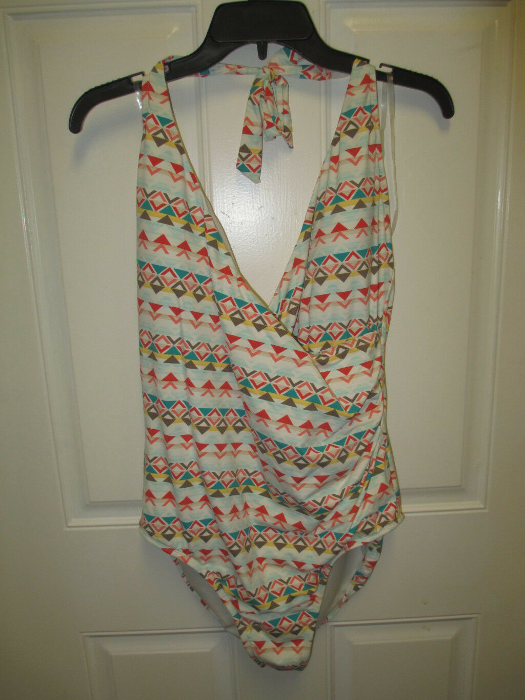 Anne Cole One Piece Bathing Suit Halter Padded Lined Size 16 White Print NWT