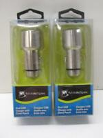 2-pack Mobile Spec Dual Usb Charger + Car Auto Glass Window Punch 3.1 Amp Silver