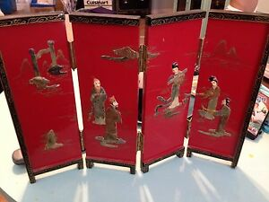 Oriental-Red-Black-Gold-Soapstone-Geisha-Table-Screen-19-Wide-13-5-Tall