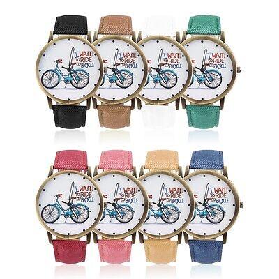 Men Women Leather Band Analog Bike Round Vintage Casual Quartz Wrist Watch O@