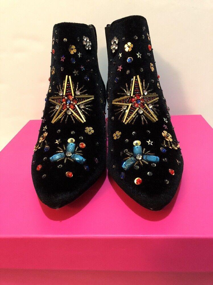 Betsey Johnson Women's JAX Black Velvet Ankle Bootie Boot Beaded Box Size 6 New