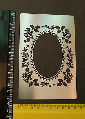 Stainless/Steel/stencil/Oblong/Oval/Rose/Floral/Border/Frame/Emboss/DAMAGED