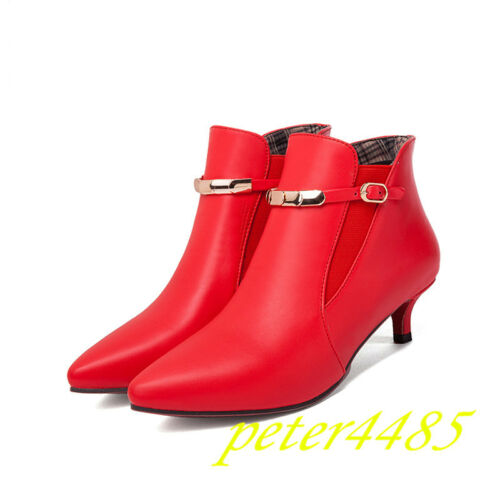 Leather Pointy Toe Buckle Strap Solid Kitten Heels Fashion Women Ankle Boots NEW