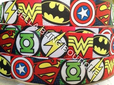 1 METRE BOYS AVENGERS MARVEL SUPER HEROS SUPERHERO GROSGRAIN RIBBON 22MM 7/8""
