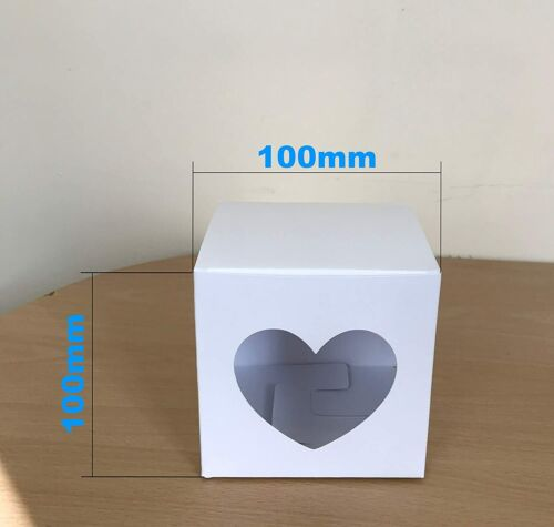 10cm Christmas Card Gift Box Sky Blue Snowflakes and Heart Shaped Window x 10