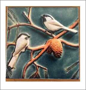 Piastrella-d-039-arte-artigianato-in-ceramica-10-10-cm-Volatili
