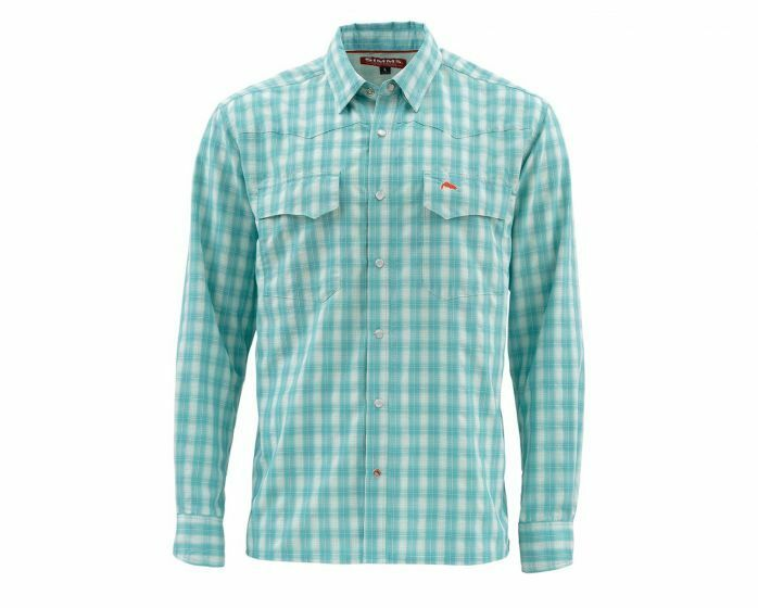 Simms Big Sky Long Sleeve Shirt-Aqua Plaid - Size XL- Closeout