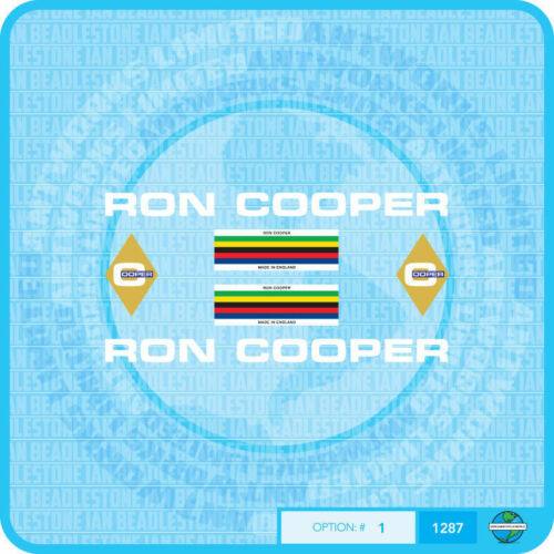 Ron Cooper Bicycle Decals Transfers Set 1 Stickers