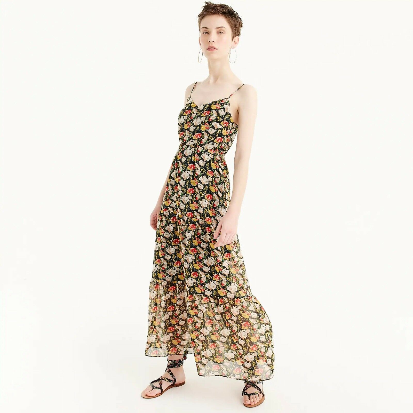 NWT J.Crew Mercantile Tierot Maxi Dress in Sweet Pea Floral - rot Gold - Größe 12