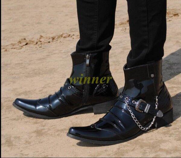 Cadena para hombre Vaquero Occidental Hebilla de metal rock en Punta De Cuero Zapatos botas al tobillo