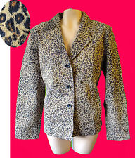 LEOPARD print suede leather jacket animal blazer cafe punk steam coat l large