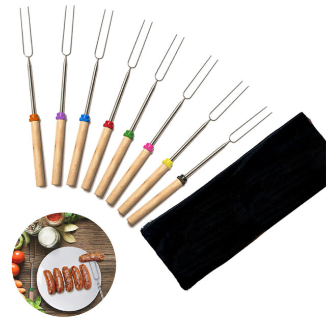 8 Pcs Telescopic Roasting Marshmallow Barbecue BBQ Sticks Skewers Fork w/ Pouch