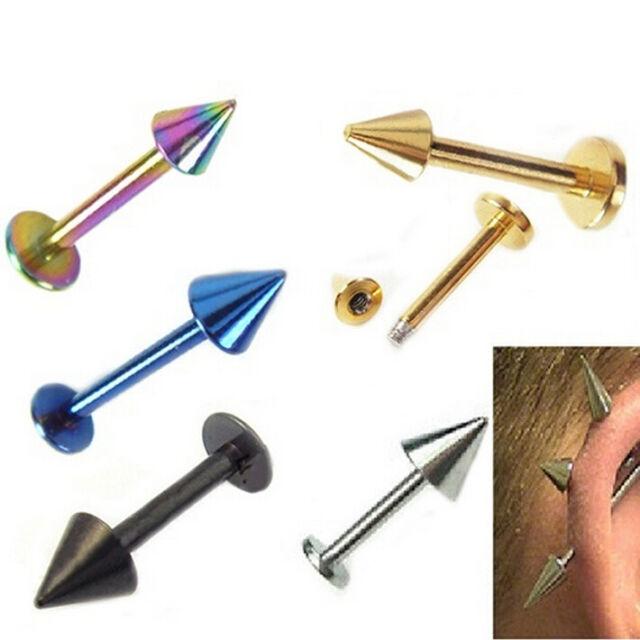 Stainless Steel Labret Lip Ear Ring Spike Stud Body Body Piercing B RAC